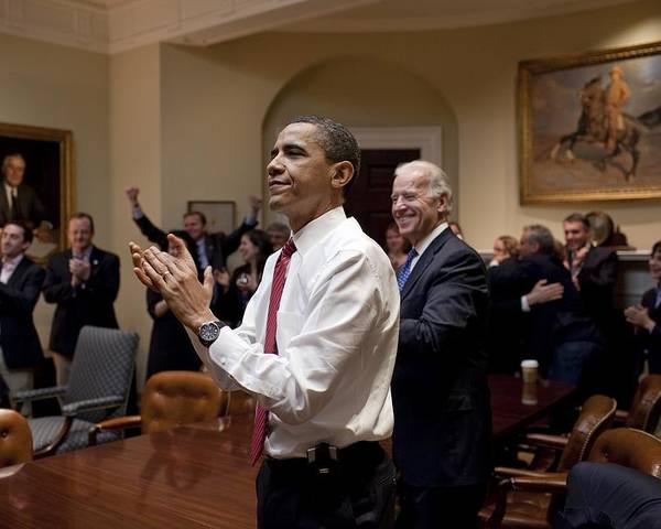 History Poster featuring the photograph President Obama And Vp Biden Applaud by Everett