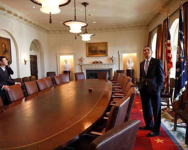 History Poster featuring the photograph President Obama Surveys The Cabinet by Everett