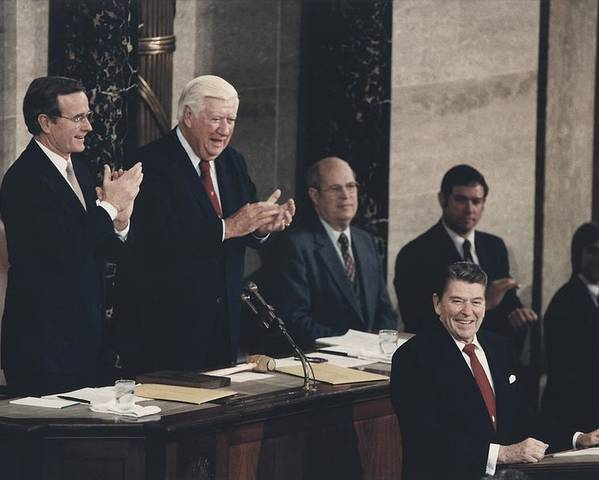 History Poster featuring the photograph President Reagan Receives A Standing by Everett