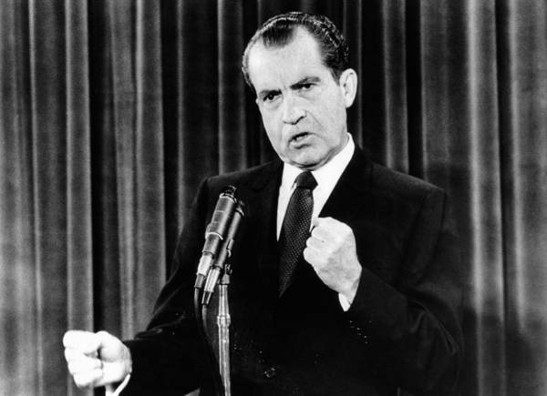 History Poster featuring the photograph President Richard Nixon During A News by Everett