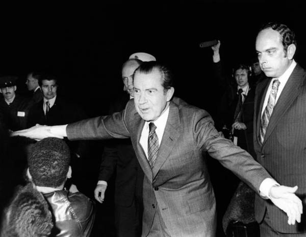 History Poster featuring the photograph President Richard Nixon Extends Himself by Everett