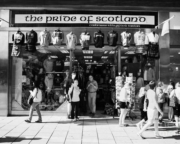 Pride Poster featuring the photograph Pride Of Scotland Scottish Gifts Shop Princes Street Edinburgh Scotland Uk United Kingdom by Joe Fox