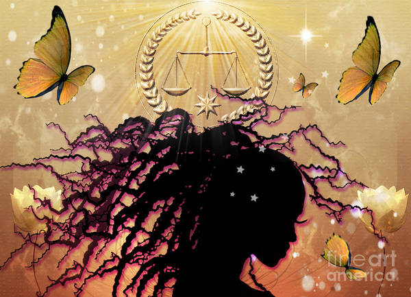 Primal Nature Butterfly Butterflies Balance Scales Harmony Being Golden Star Light Preace Tranquility Outer Inner Awareness Poster featuring the digital art Primal Nature by Gia Simone