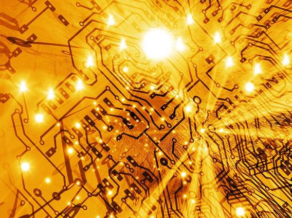 Printed Circuit Board Poster featuring the photograph Printed Circuit Board, Artwork by Mehau Kulyk