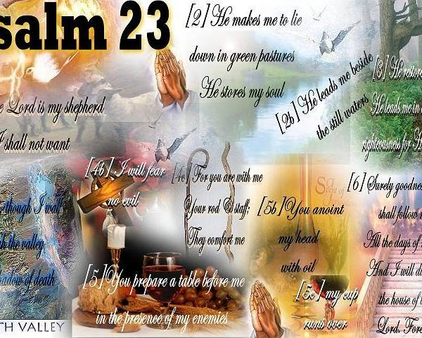Psalms Poster featuring the mixed media Psalm 23 by Barbara Judkins-Stevens