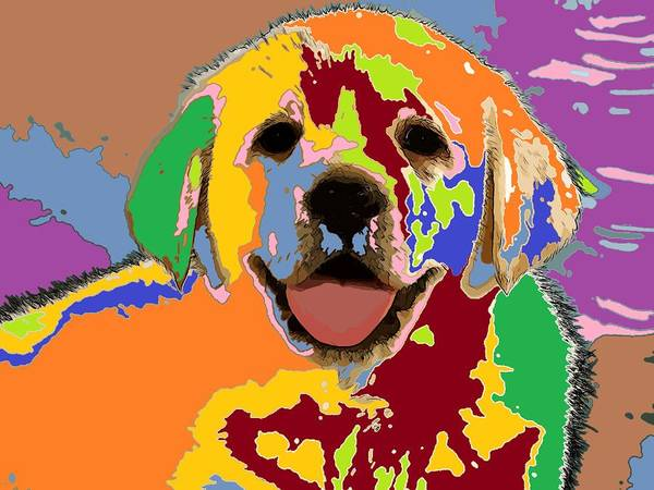 Puppy Poster featuring the digital art puppy Portrait 7 by Adrian Tovnodtov