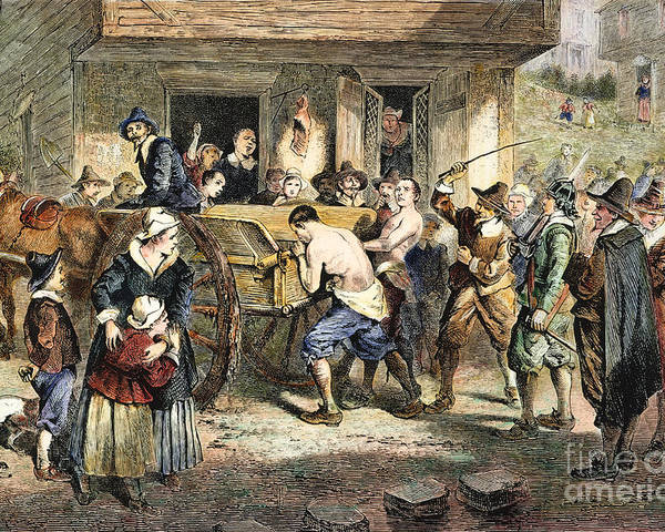 1670s Poster featuring the photograph Puritans: Punishment, 1670s by Granger