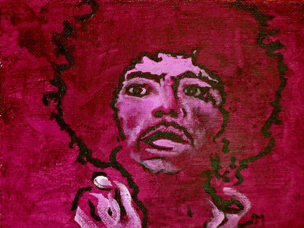 Jimi Hendrix Poster featuring the painting Purple Haze by Pete Maier