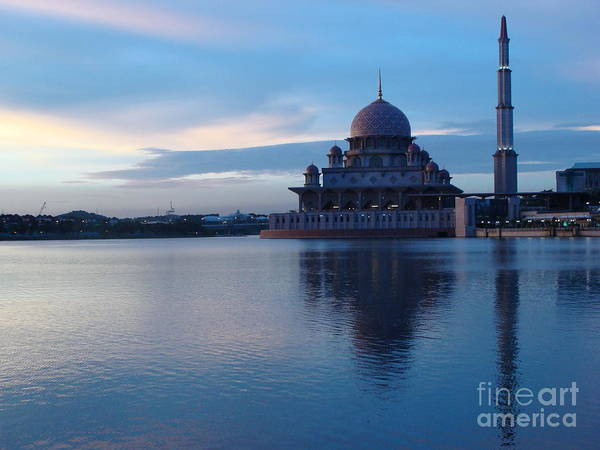 Islam Poster featuring the photograph Putrajaya Mosque At Evening by Jarrod Brown