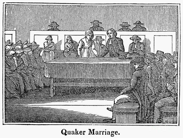 1842 Poster featuring the photograph Quaker Marriage, 1842 by Granger