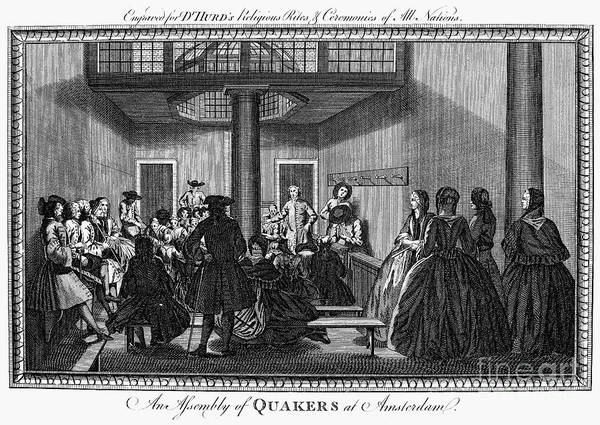 1790 Poster featuring the photograph Quaker Meeting, C1790 by Granger