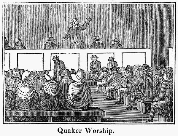 1842 Poster featuring the photograph Quaker Worship, 1842 by Granger