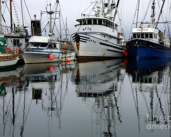 Fishing Boats Poster featuring the photograph Quiet Time by Bob Christopher