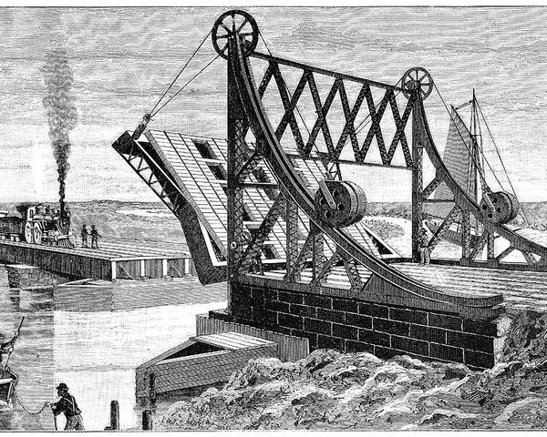 Human Poster featuring the photograph Railroad Drawbridge, 19th Century by
