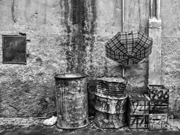 Morocco Poster featuring the photograph Rain Bw Marrakesh by Chuck Kuhn