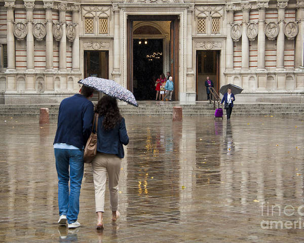 Cathedral Poster featuring the photograph Rain In London by Donald Davis
