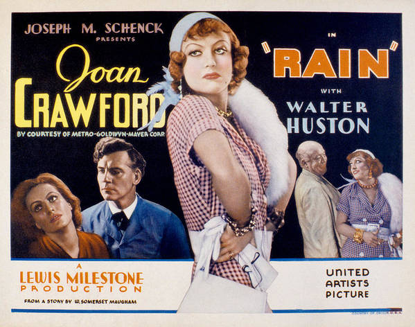 1930s Movies Poster featuring the photograph Rain, Walter Huston, Joan Crawford, Guy by Everett