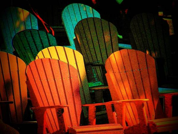 Chairs Poster featuring the photograph Rainbow Chairs by Joyce Kimble Smith