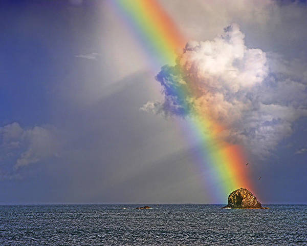 St Lucia Poster featuring the photograph Rainbow On Birdrock- St Lucia. by Chester Williams