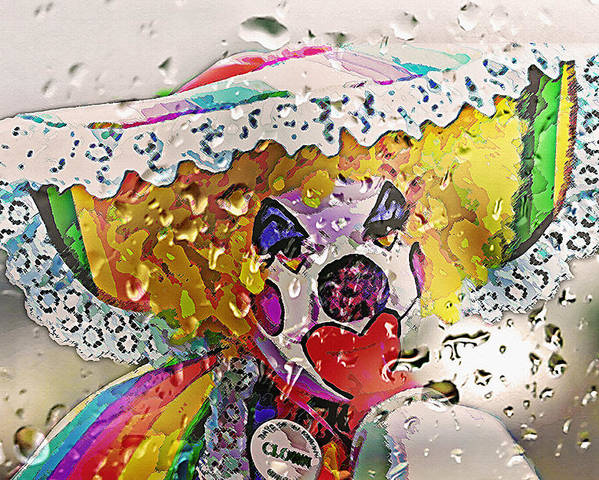 Abstract Poster featuring the photograph Rainy Day Clown by Steve Ohlsen