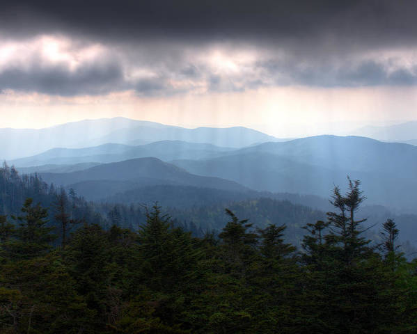 Great Smokey Mountains Poster featuring the photograph Rays Of Light Over The Great Smoky Mountains by Pixel Perfect by Michael Moore
