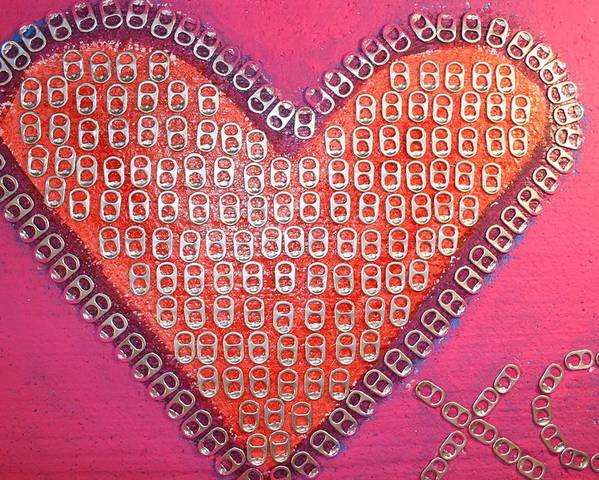Hearts Desire Poster featuring the mixed media Recycled Love by James Briones