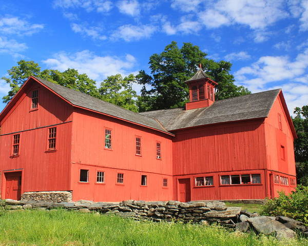 Cummington Poster featuring the photograph Red Barn At Bryant Homestead by John Burk