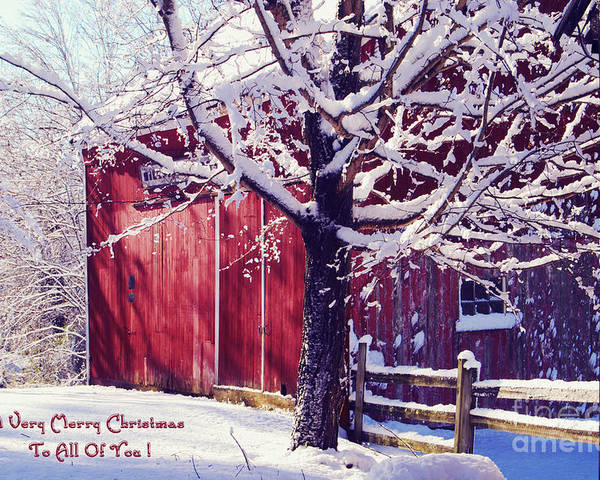 Winter Poster featuring the photograph Red Barn In The Winter Connecticut Usa by Sabine Jacobs