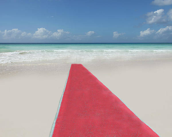 Horizontal Poster featuring the photograph Red Carpet On A Beach by Buena Vista Images