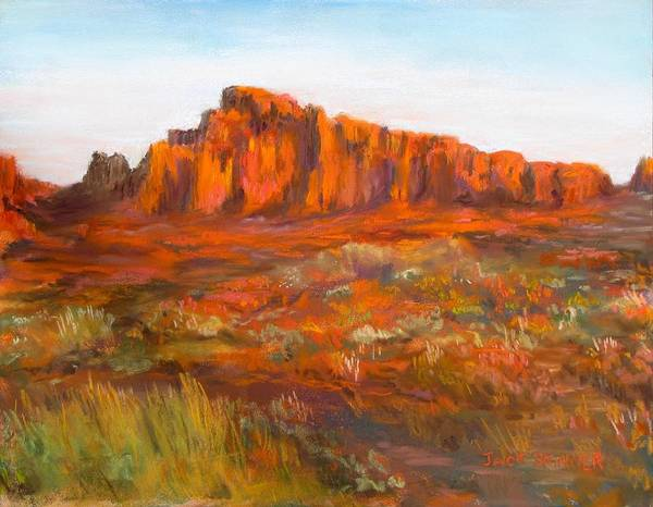 Red Cliffs Poster featuring the painting Red Cliffs by Jack Skinner