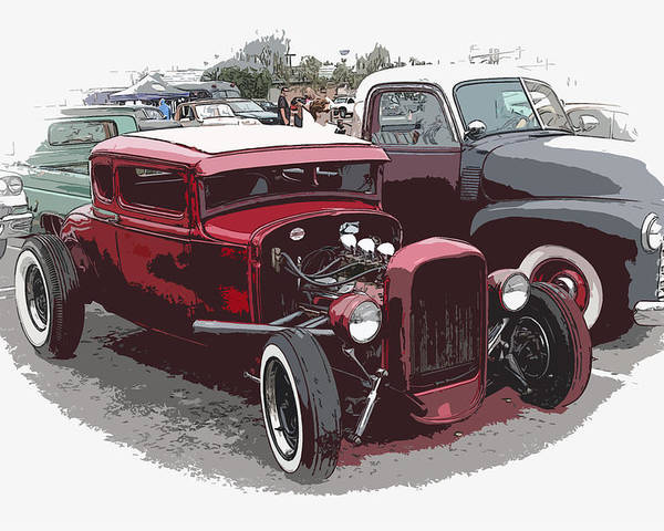 Model A Poster featuring the photograph Red Model A Coupe by Steve McKinzie