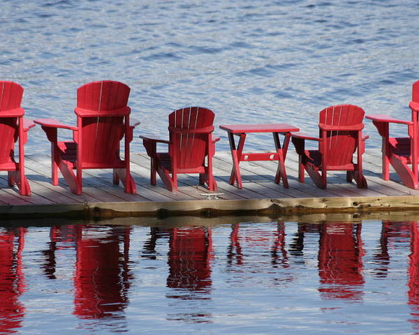 Muskoka Poster featuring the photograph Red Muskoka Chairs by Dr Carolyn Reinhart