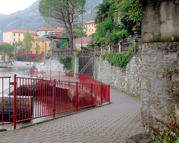 Varenna Poster featuring the photograph Red Rail Walkway To Varenna Along Lake Como by Greg Matchick