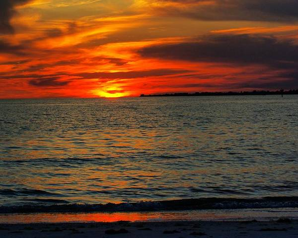 Sunset Poster featuring the photograph Red Reflections by Florene Welebny