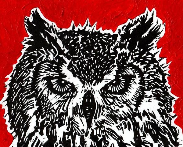 Owl Poster featuring the painting Redder Hotter Eagle Owl by Julia Forsyth