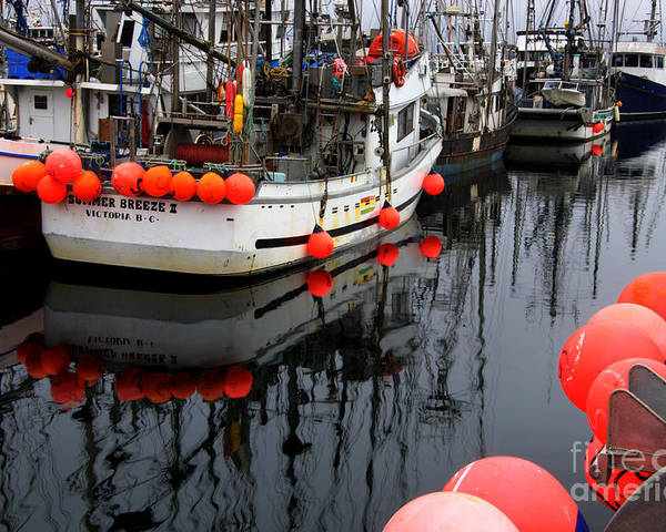 Fishing Boats Poster featuring the photograph Reflections At French Creek by Bob Christopher
