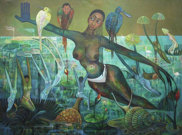 Imaginative Poster featuring the painting Reflections Of Nature by Godfrey Banadda