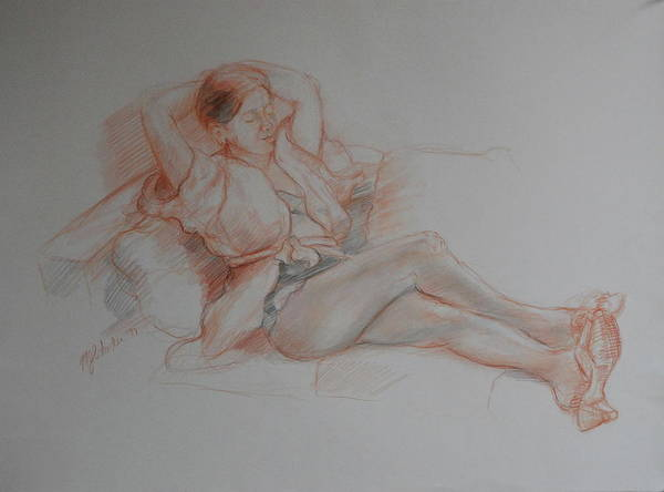 Figure Study Drawing Clothed Poster featuring the drawing Reverie by Maxine Schacker