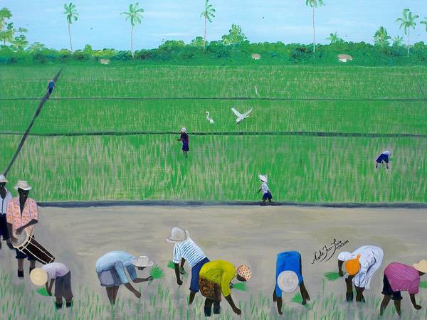 Rice Field Haiti 1980 By Nicole Jean-louis Poster featuring the painting Rice Field Haiti 1980 by Nicole Jean-Louis