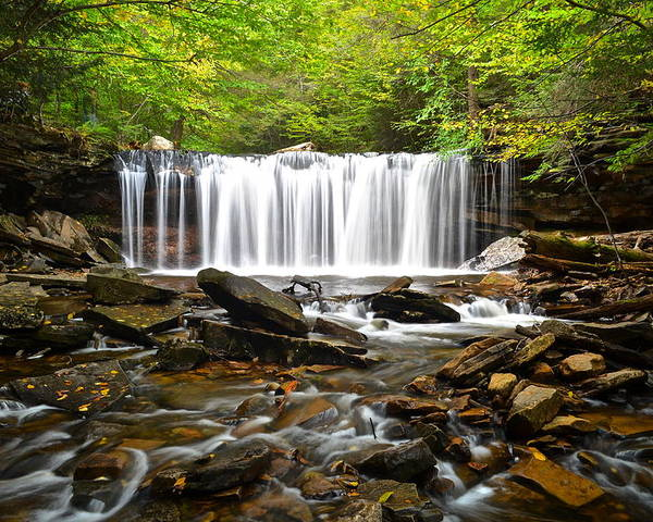 Ricketts Poster featuring the photograph Ricketts Glen Waterfall Oneida by Frozen in Time Fine Art Photography