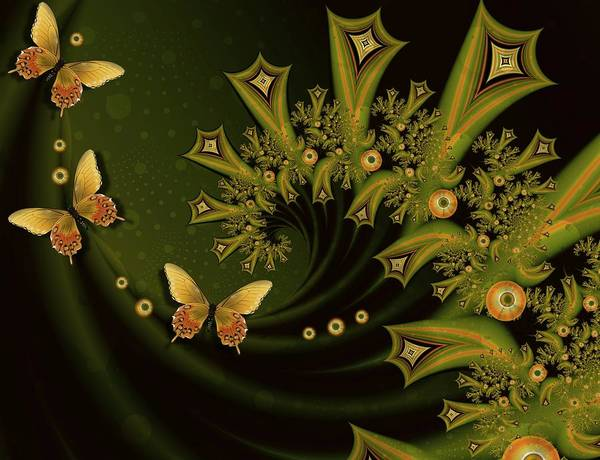 Digital Art Fractal Art Unique Green Yellow Orange Butterflies Prints Poster Greeting Cards Poster featuring the mixed media Riding The Wave by Connie Dye