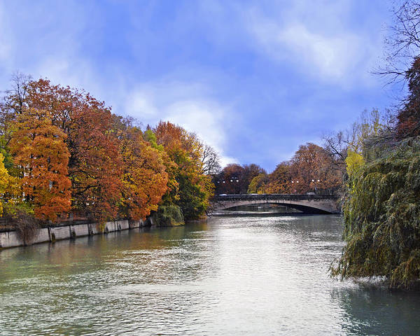 Munich River Stone Bridge Poster featuring the photograph River Colors by Anthony Citro