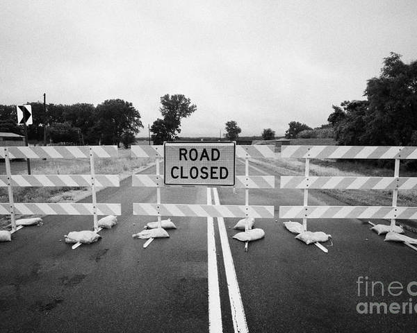 Road Poster featuring the photograph Road Closed And Highway Barrier Due To Flooding Iowa Usa United States Of America by Joe Fox