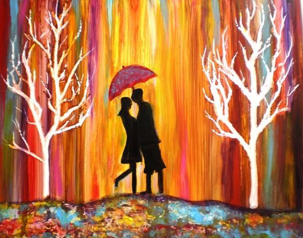 Romance Romantic Love Valentine Rain Trees Umbrella Red Blue Orange Yellow Yupo Paper Figures Anniversary Colorful White Black Poster featuring the photograph Romance in the rain II by Manjiri Kanvinde