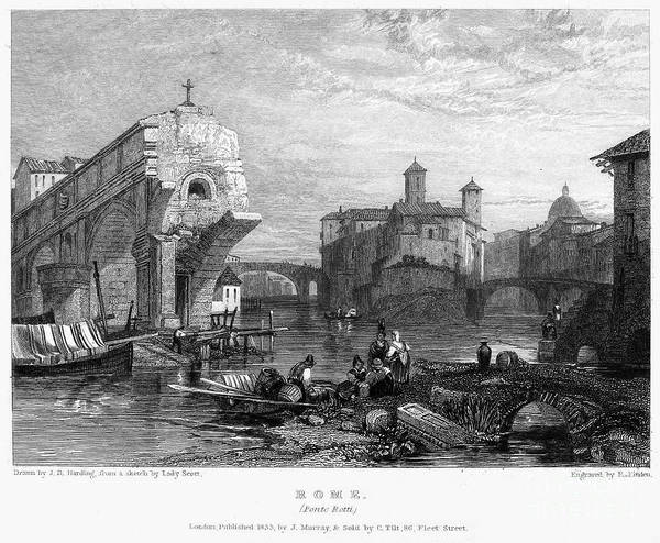 1833 Poster featuring the photograph Rome: Ponte Rotto, 1833 by Granger
