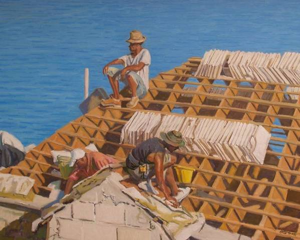 Bermuda Poster featuring the painting Roofworkers by Otto Trott