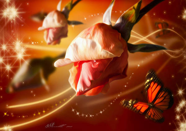 Anniversary Poster featuring the digital art Rose And Butterfly by Svetlana Sewell