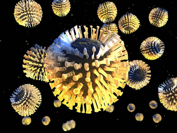 Rotavirus Poster featuring the photograph Rotavirus Particles, Artwork by Carl Goodman