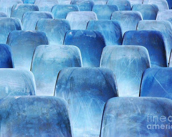 Amphitheater Poster featuring the photograph Rows Of Blue Chairs by Carlos Caetano