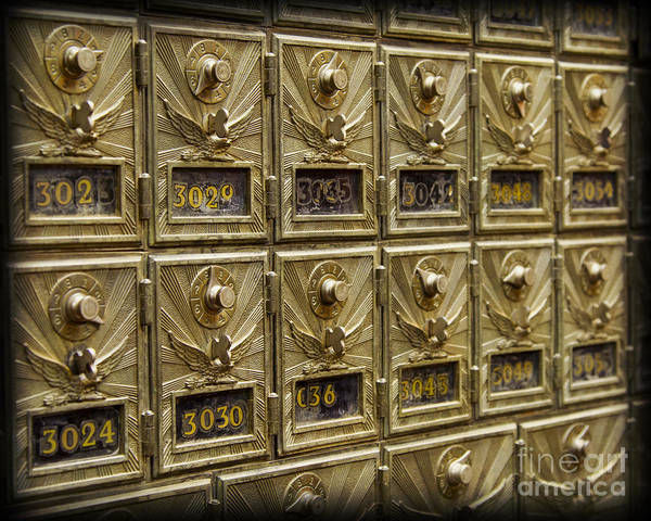 Mail Box Poster featuring the photograph Rows Of Post Office Mailboxes With Combination Locks And Brass O by ELITE IMAGE photography By Chad McDermott